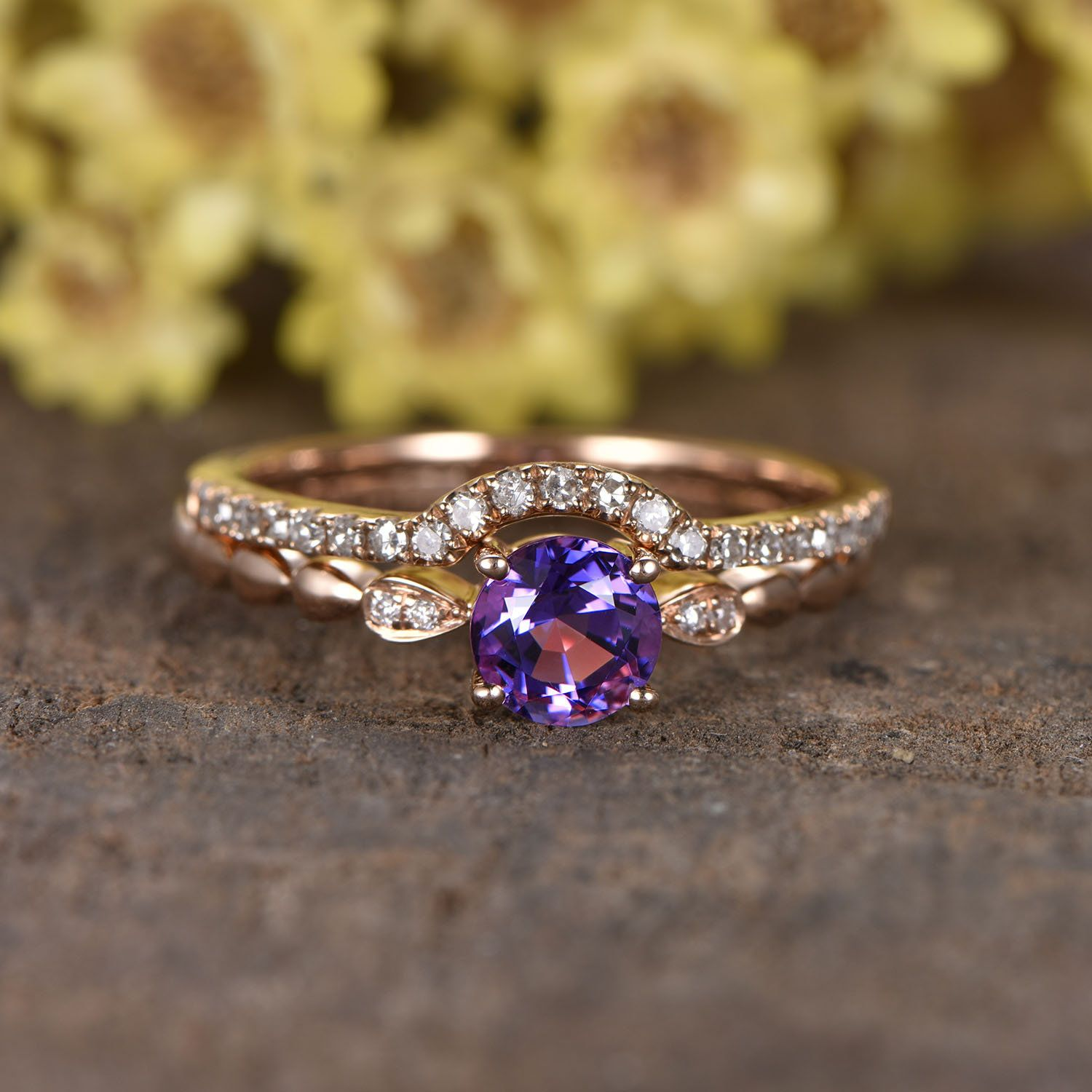 5mm Amethyst Engagement Ring Set Art Deco Solitaire Ring