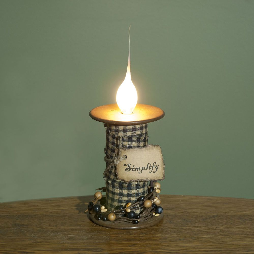 Primitive Country Electric Spool Candle Lamp Light  Simplify   Black   Tan