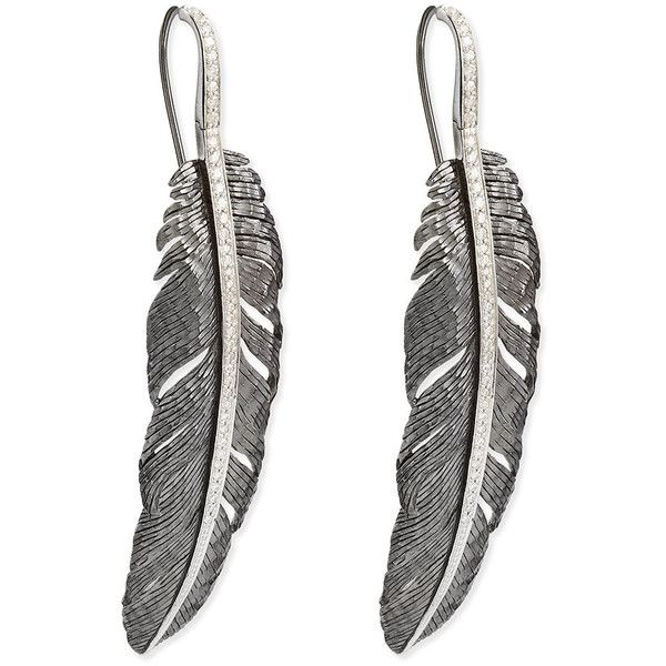 Michael Aram Large Feather Drop Earrings with Diamonds nHDRuUF1a
