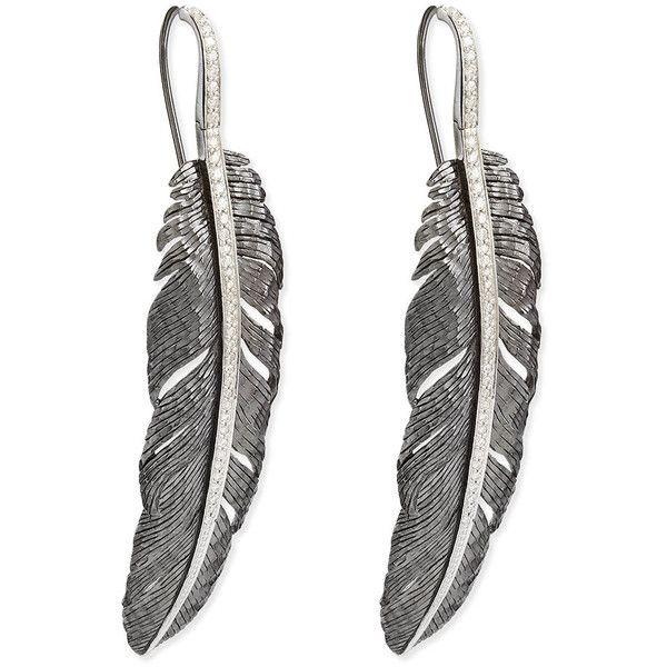 Michael Aram Large Feather Drop Earrings with Diamonds BTd4W5R
