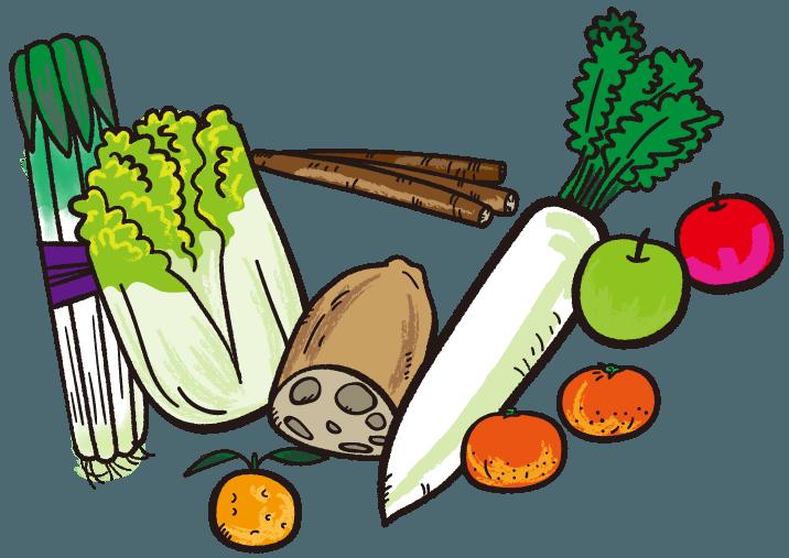 冬に旬の野菜くだもの イラスト Gogons Magazine 旬の野菜 野菜 冬