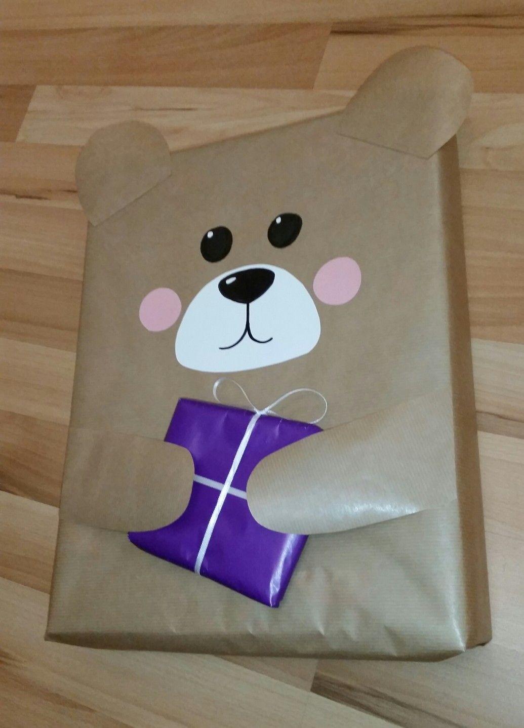 Geschenk Gift Present Bear Animal Kids Bär Kinder Verpackung DIY ...