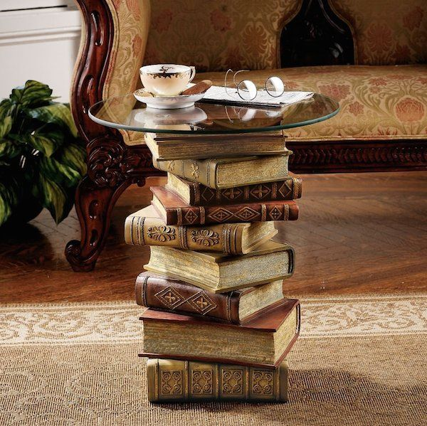 Power of Books Sculptural Glass-Topped Coffee Table