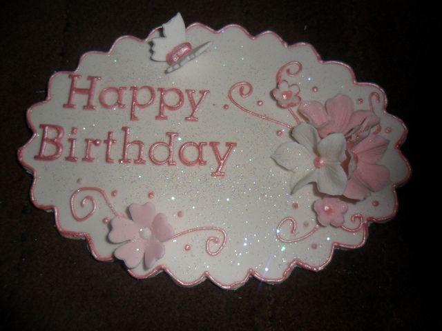 "happy birthday pink white fondant cake plaque by ""Cupcakes by lizzie"".lizzies_cakes lizzies cupcake, via Flickr"