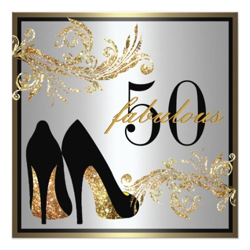 50th Birthday Party Invitations Dancing Shoes