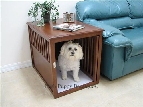 Eco Friendly Pet Crate Table Espresso Dog Beds Dog