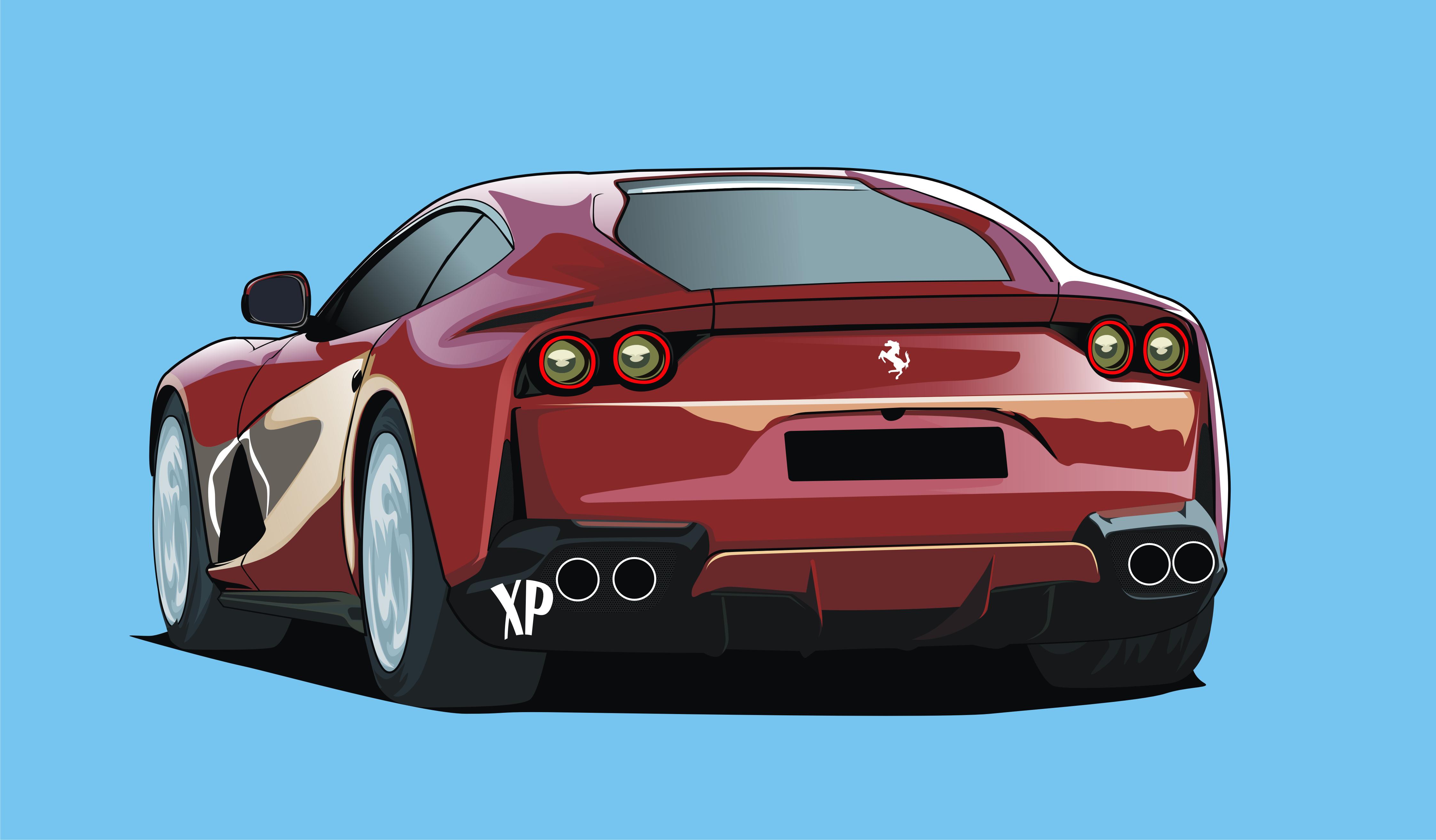 supercar in cartoon sytle cars cartoon vector ferrari