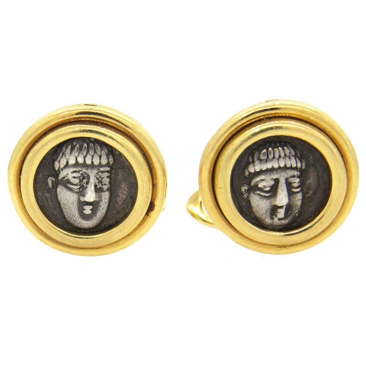 Bulgari campania phistelia iv ancient coin gold cufflinks coins