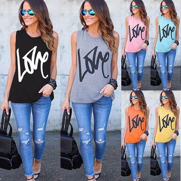 shirtsforwomen, Women Vest, Amor, letter print - 0