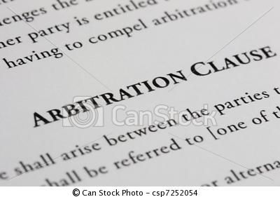 Arbitration Clause Clause In A Contract That In The Event Of A