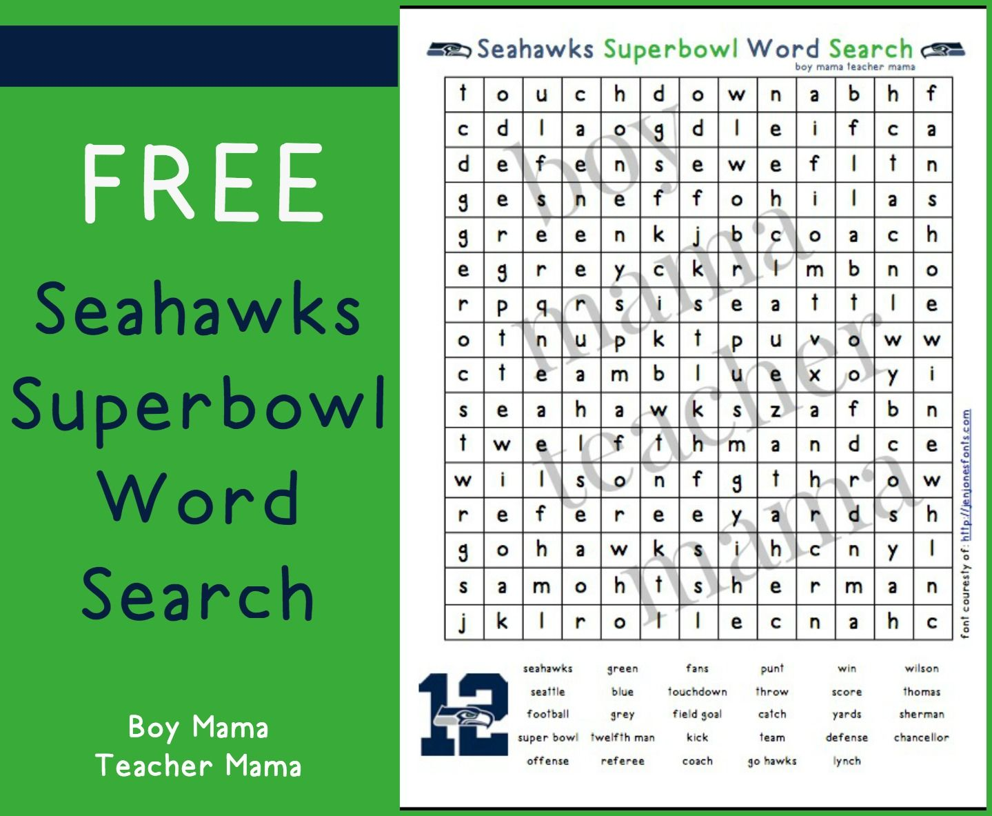 Teacher Mama Free Seahawks Superbowl Word Search