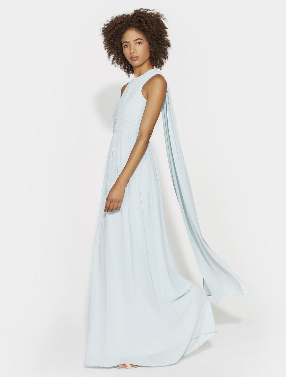 885e873183 Plisse georgette back drape gown