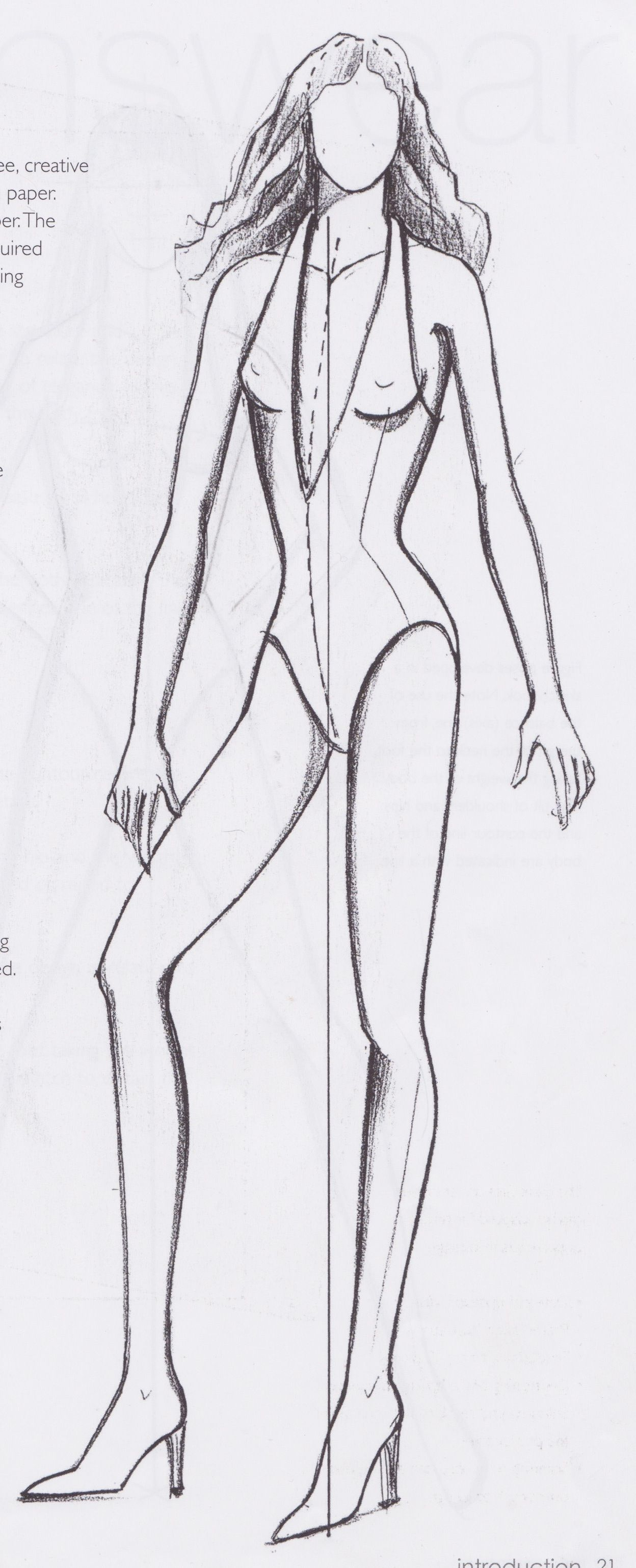 I have just been looking through my fashion template book and think this figure is probably most appropriate as she is a straight front view. Everyone please work to this template so that we can build a sense of cohesive design development.