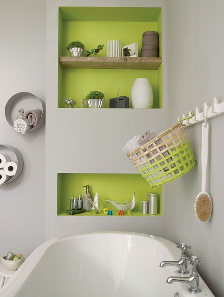 Brighten Up A Grey Colour Scheme In The Bathroom With A Zesty Green In Alcoves And On Shelves Try Pai Green Bathroom Decor Lime Green Bathrooms Green Bathroom