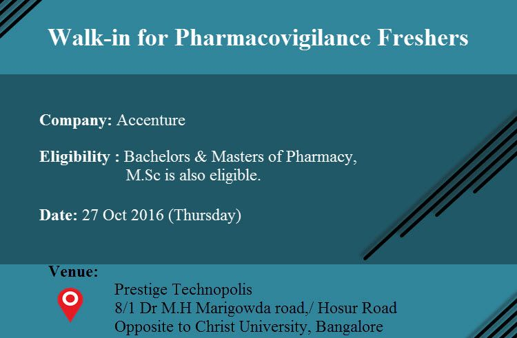 Walk-in for Pharmacovigilance Fresher's on 27 Oct 2016 at