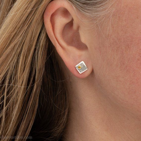 f71ecf046 Sterling silver small square stud earrings for men | Tiny handmade man  earrings with lab grown golde