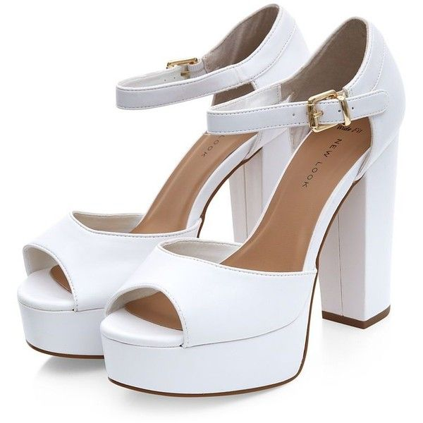 df32efdcc3b3 Wide Fit White Peep Toe Chunky Block Heels ( 36) ❤ liked on Polyvore  featuring