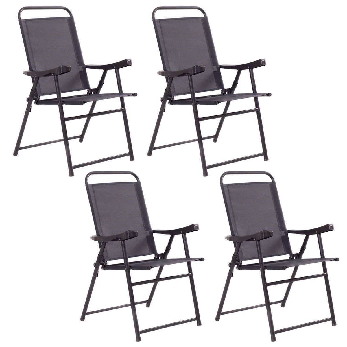 Set of black outdoor folding patio chairs steel frame sling fabric