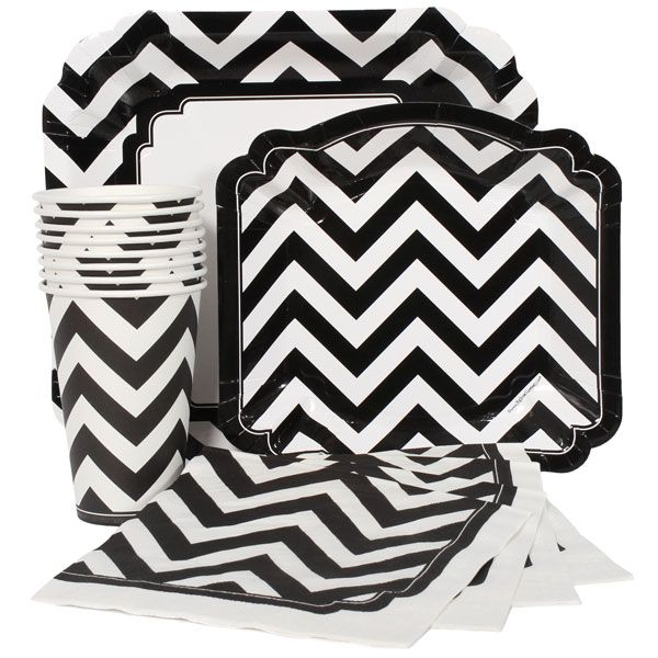 Black and White Chevron Party Supplies  sc 1 st  Pinterest & Black and White Chevron Party Supplies   Prints and Patterns   Pinterest