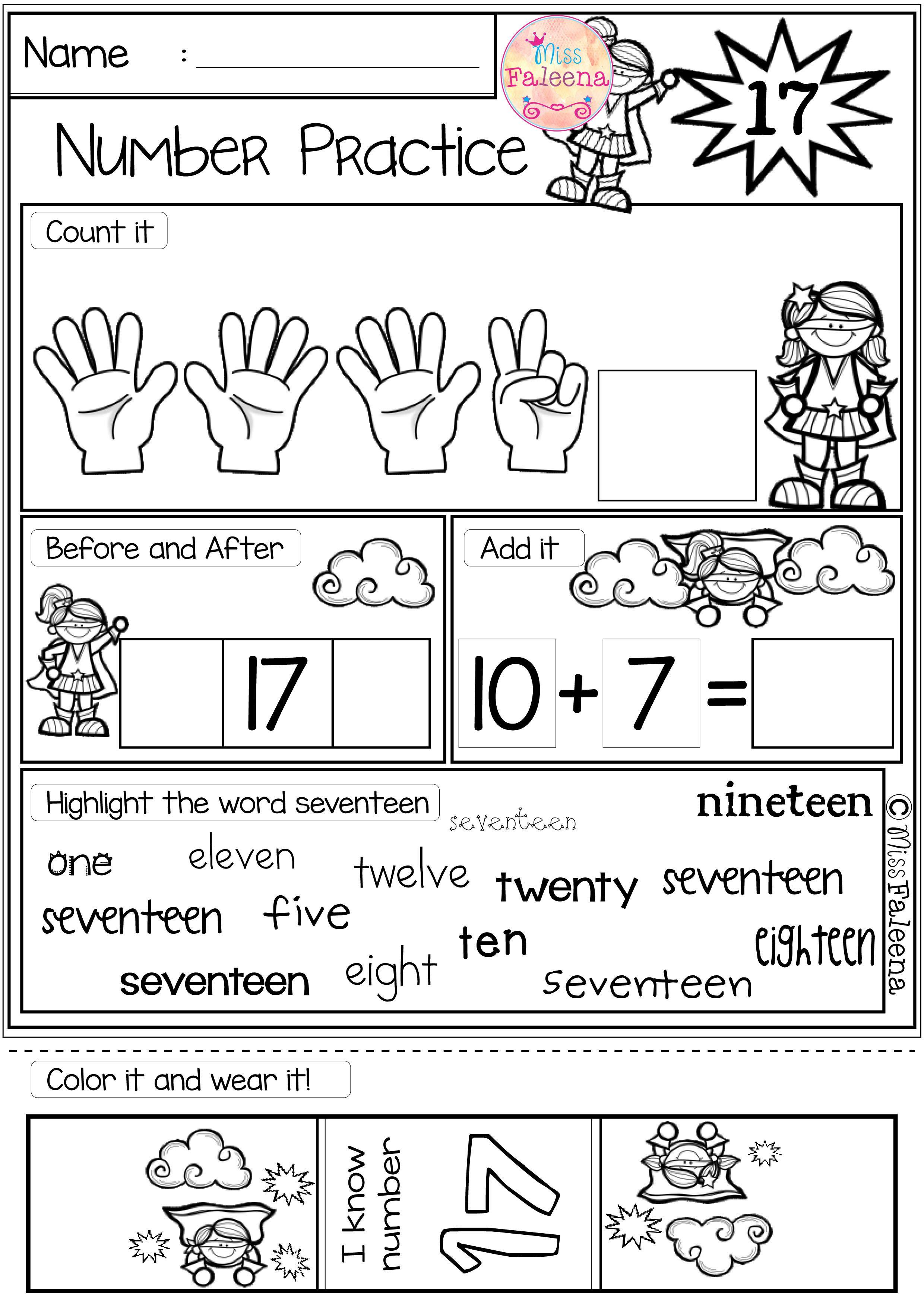Number 1 20 Practice Set 2 With Images Kindergarten Math