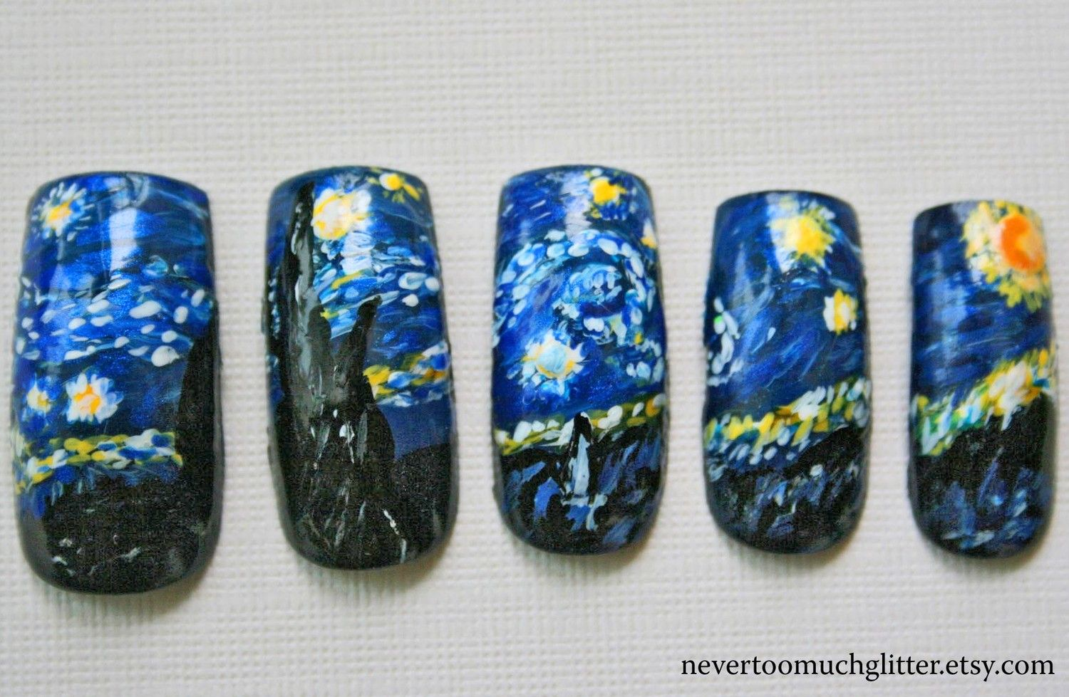 Starry Night (Custom) Artificial Nails, Starry Night Fake Nails ...