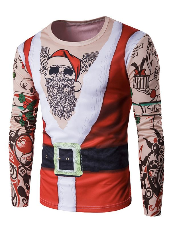 Long sleeve 3d father christmas costume tattoo print t for Tattoo shirts long sleeve