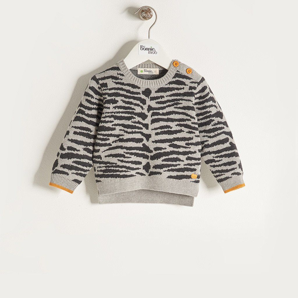 aa2974ed11d TEDDY - Unisex Baby Knitted Tiger Stripe Sweater - Grey