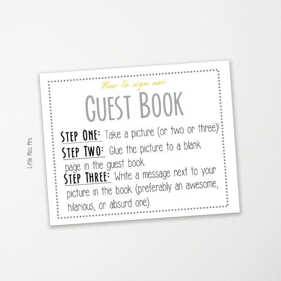 Guest Book Sign Template Instant Download  Gray And Yellow And