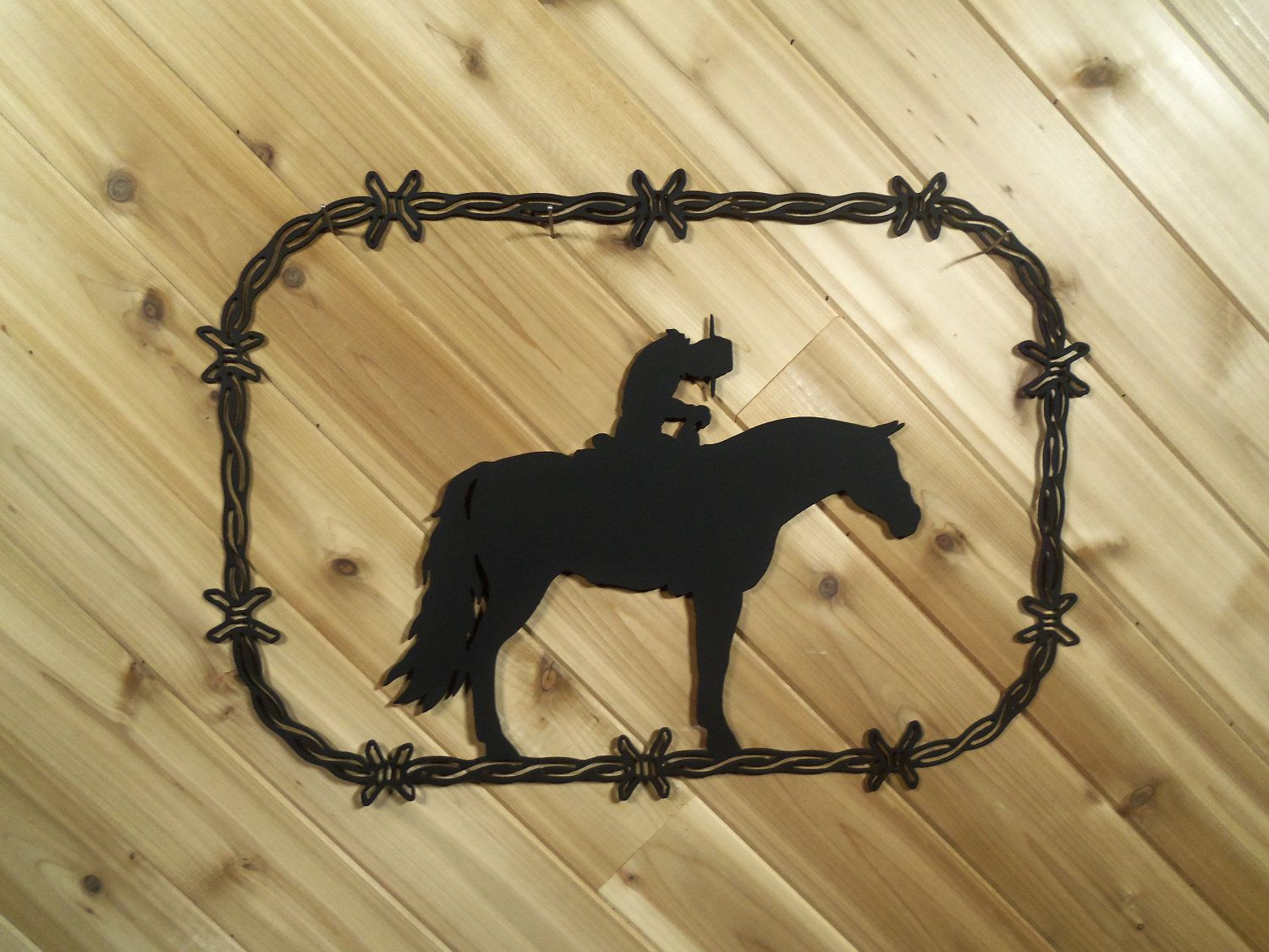 Cowboy on a Horse - Western - Metal Barbed Wire - Metal Wall Art By ...