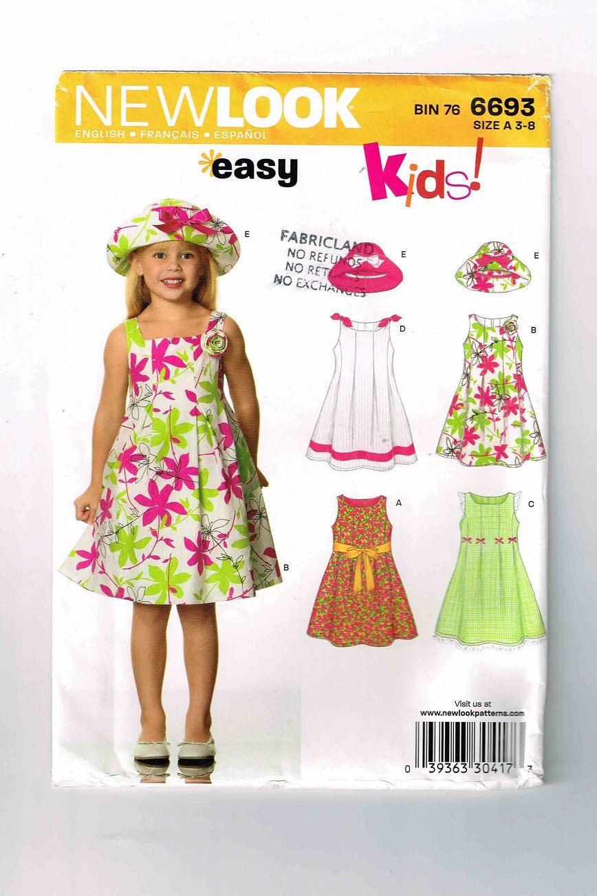 Uncut 2007 New Look Pattern #6693, Girls\' Dress & Hat Pattern, Sizes ...