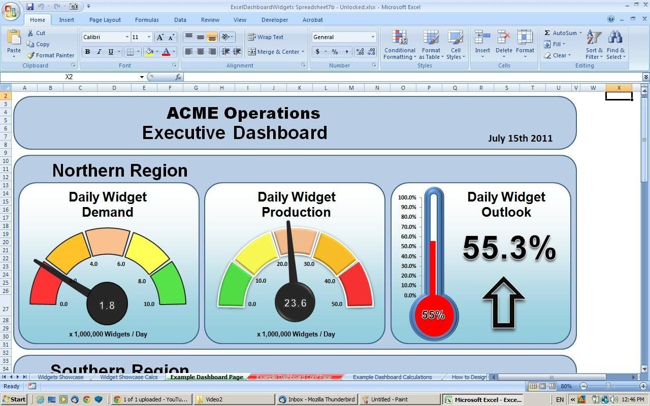 Making An Excel Dashboard  Tutorial  Copying Widgets