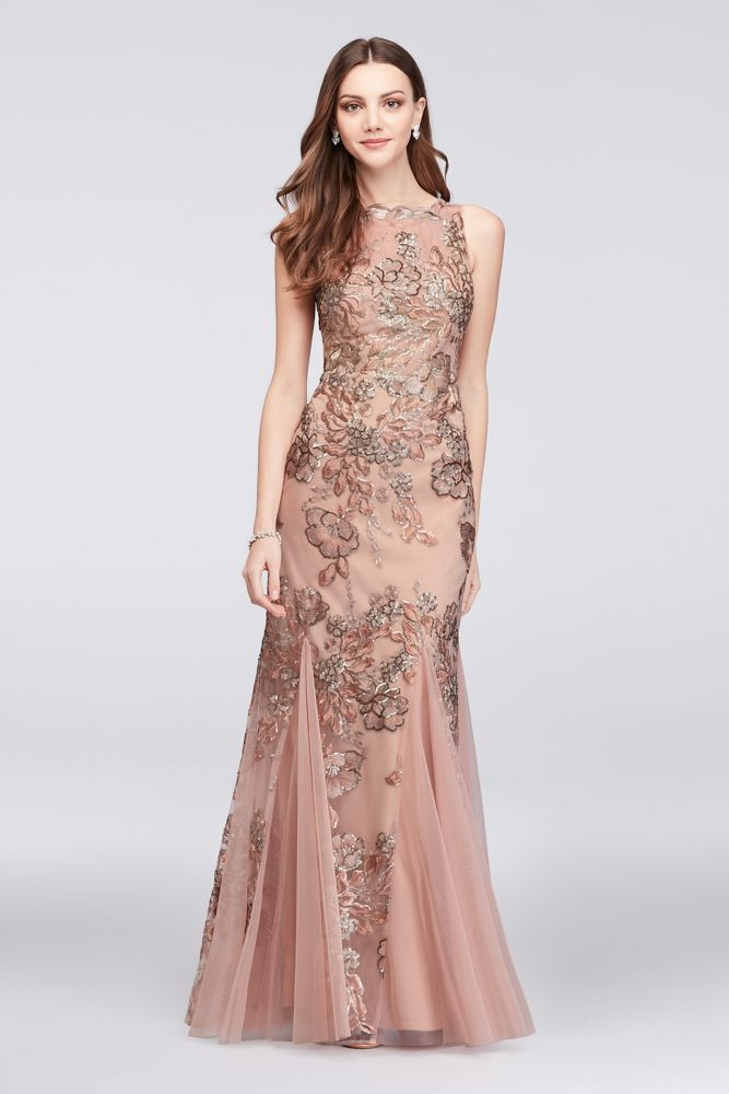 85e806f0c04c Embroidered Floral Sequin Mesh Mermaid Mother of Bride/Groom Gown - Blush /  Gold, 8
