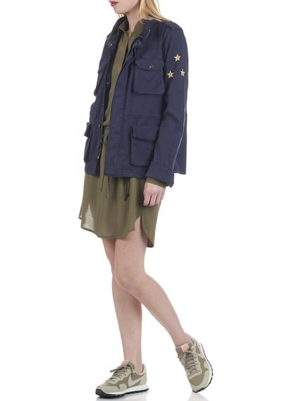 Army military jacket with pockets Blue by REIKO