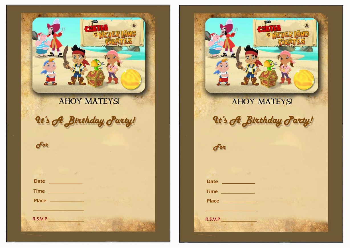 Printable Birthday Invitations For Boy ~ Jack and the neverland pirates free printable birthday party