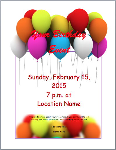 Birthday Party Invitation Flyer Template Free Word Templates - Microsoft word birthday invitation templates