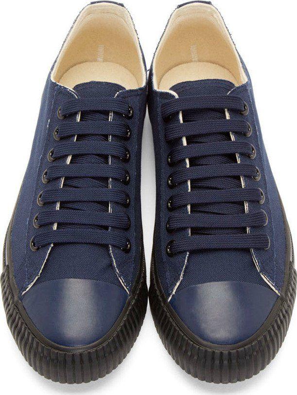 Yohji Yamamoto Navy Canvas Lace-Up Sneakers