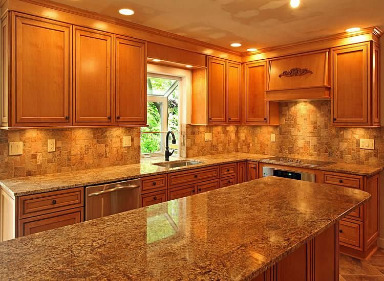 Nice Granite Countertops With Light Brown Cabinets Part 1 Kitchen Countertop Ideas With Oak C Kitchen Remodel Layout Kitchen Renovation Kitchen Remodel Small