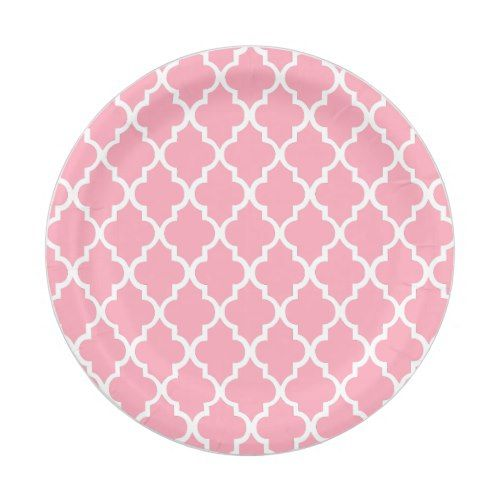 Pink Quatrefoil Tiles Pattern Paper Plate | Geometric Wedding Ideas | Pinterest | Tile patterns Pattern paper and Quatrefoil  sc 1 st  Pinterest & Pink Quatrefoil Tiles Pattern Paper Plate | Geometric Wedding Ideas ...
