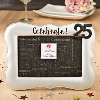 Magnificent Celebrate Silver 25th Debossed 4 x 6 Frame #25thanniversary #pictureframe