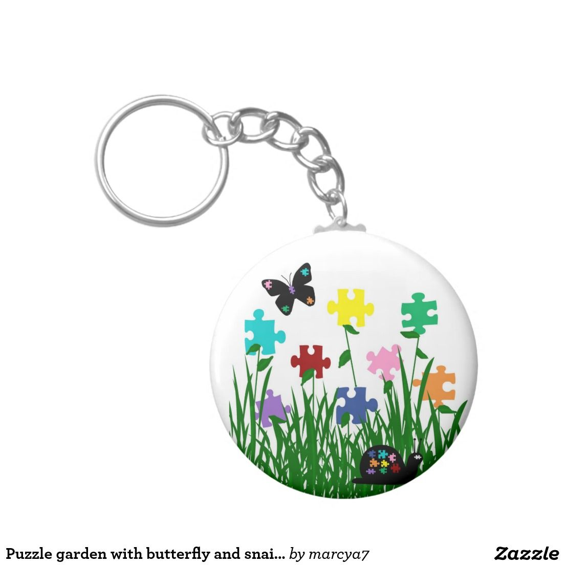 Puzzle garden with butterfly and snail key chain