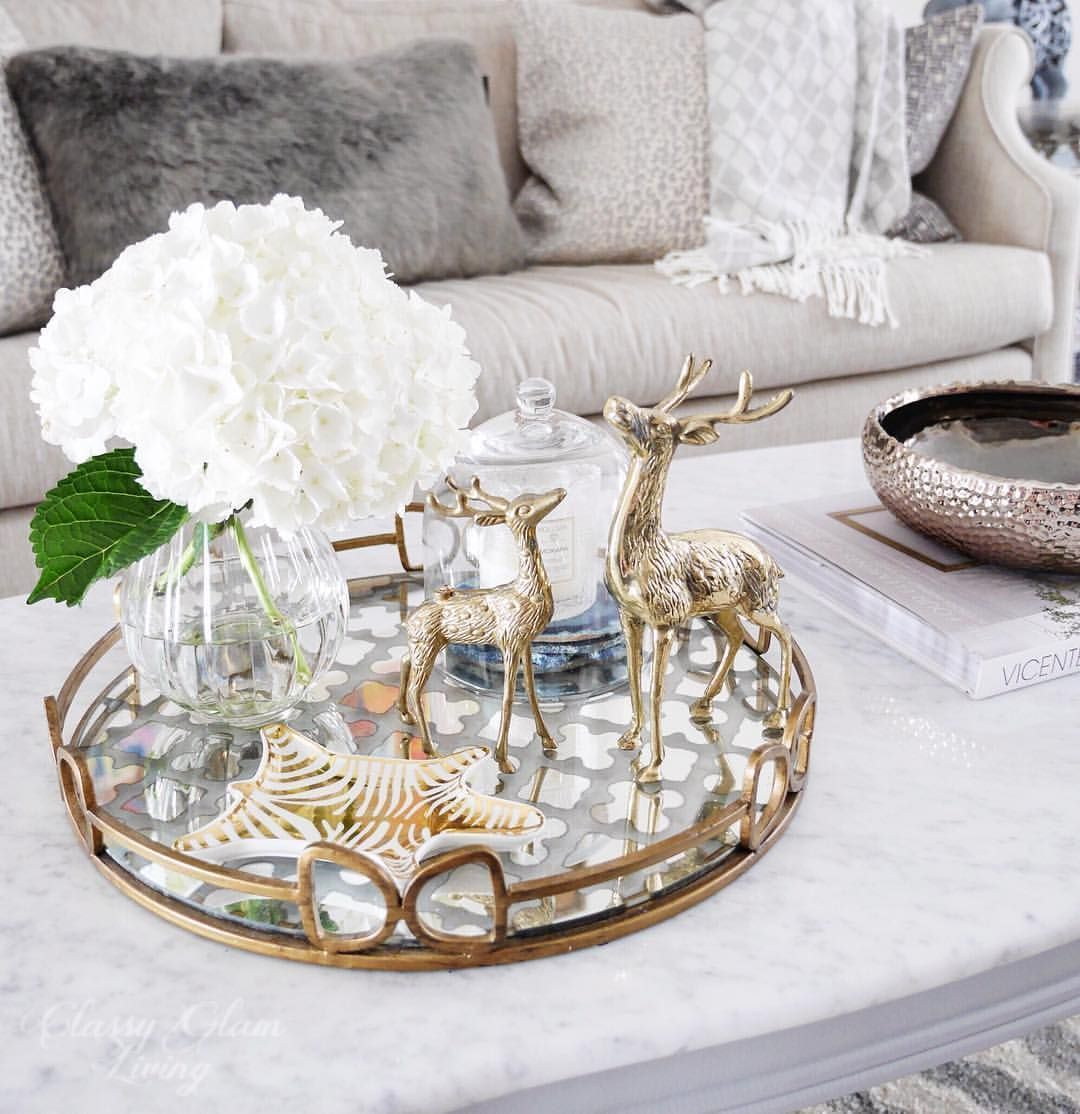 Coffee Table Styling Tray Styling Mirror Tray Hydrangeas Reindeers Winter Living Table Decor Living Room Dining Room Table Centerpieces Coffe Table Decor