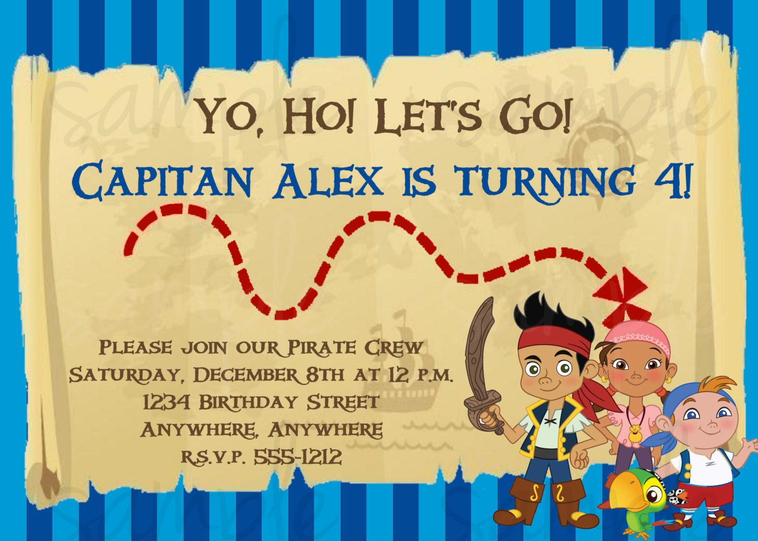 Jake and the Neverland Pirates Birthday Invitation. $12.50, via Etsy ...