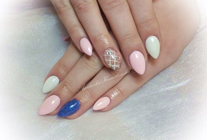 pink white blue nails