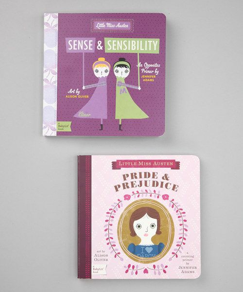 Cultivate a love for classic literature with this sweet set. Inspired byPride & PrejudiceandSense & Sensibility, this darling duo is designed to help little ones learn to count and understand opposites with the help of two timeless tales.Includes Little Miss Austen: Pride & Prejudice and Little Miss Austen: Sense & Sensibility