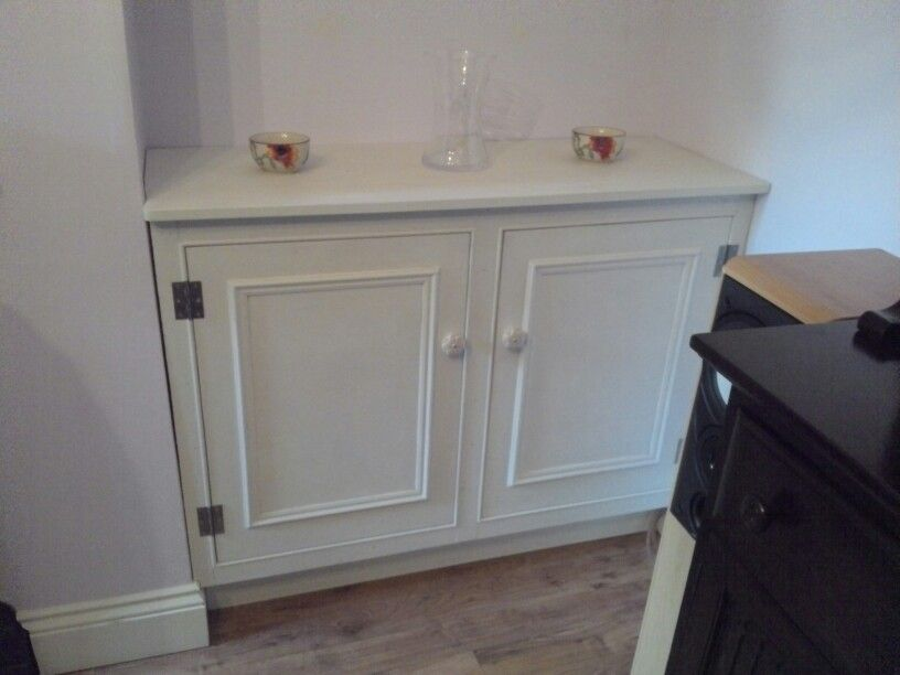 Cupboard Built To Cover The Electrical Meter Painted In Annie Sloan Old White And Waxed