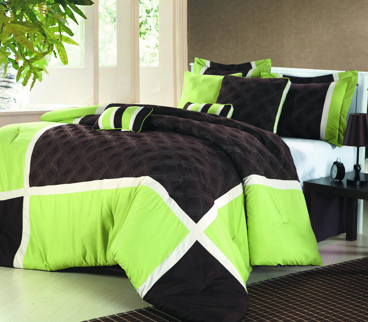 quilted patchwork comforter set, solid color block tone on tone