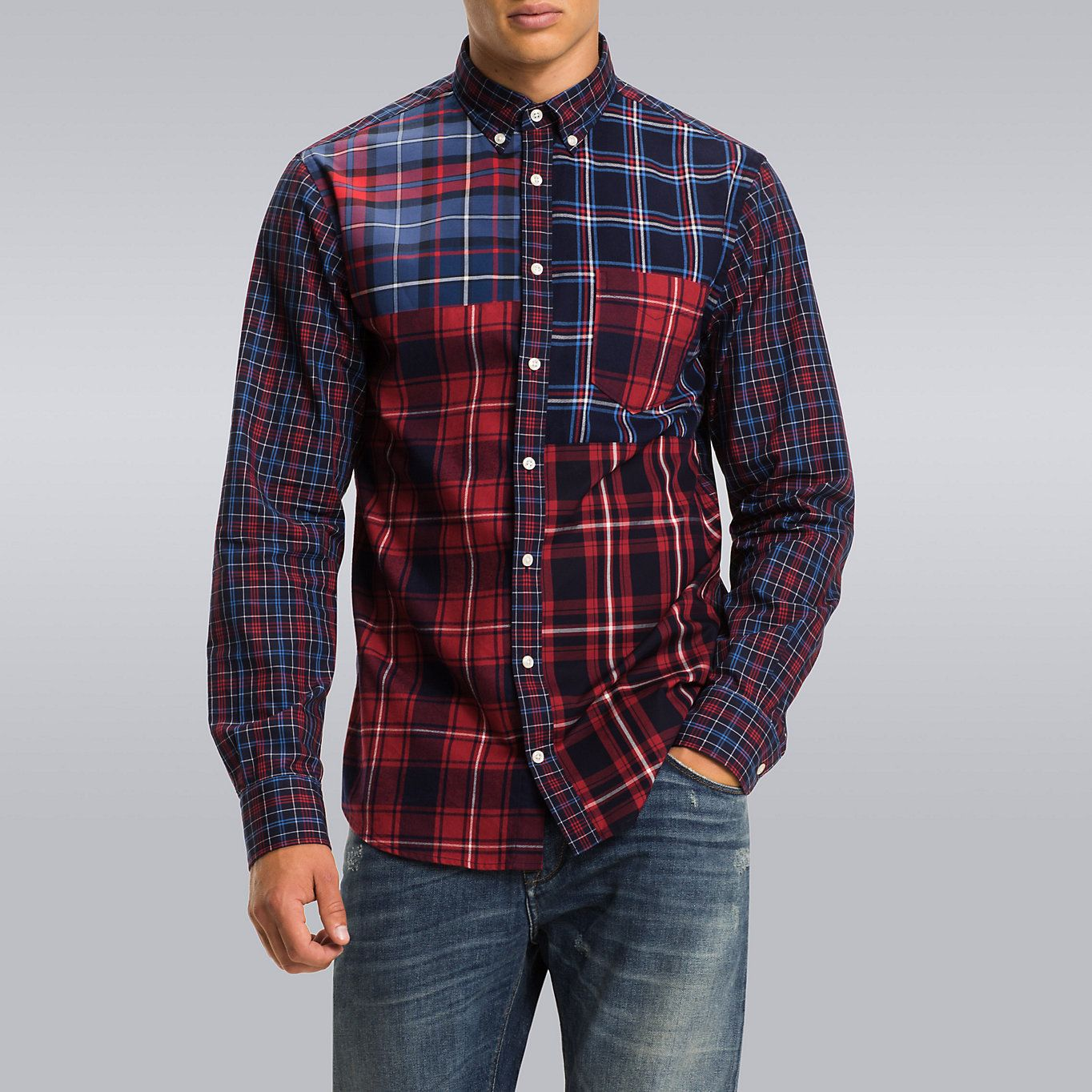 2ae012b4 Image for Fitted Tommy Tartan Patchwork Shirt from TommyUK | shirts ...