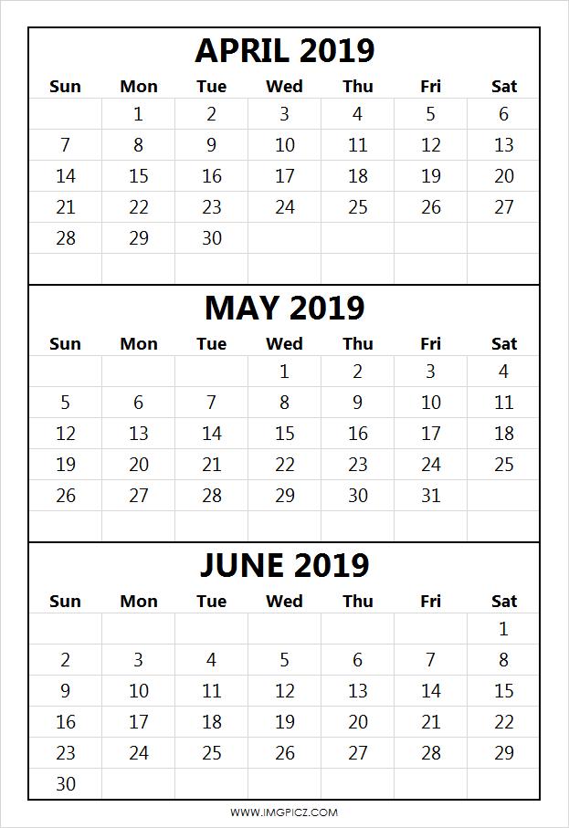 April May June Calendar 2019 April May June 2019calendar