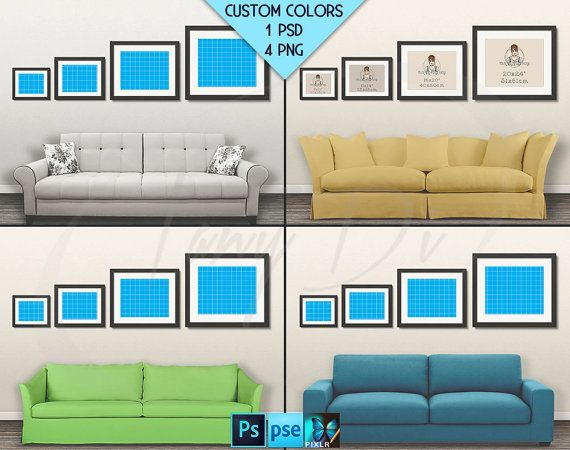 Wall Display Guide | 4 Print Sizes | Non-Photoshop | 8 PNG White ...