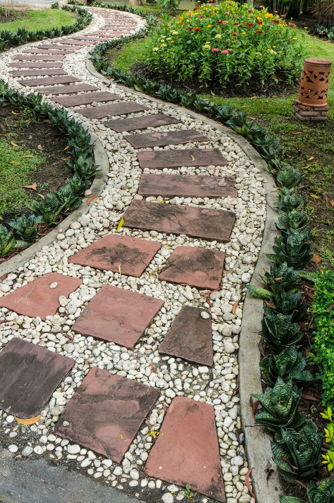 65 walkway ideas designs brick flagstone wood for Gravel path edging ideas
